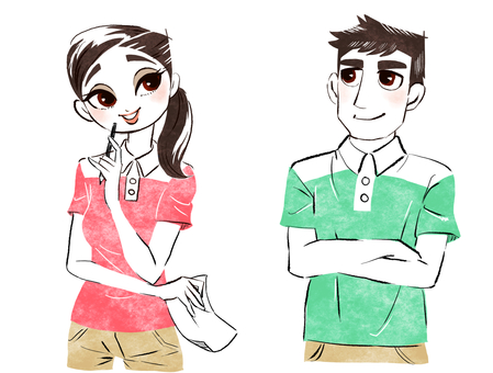 Men and women dressed in active work