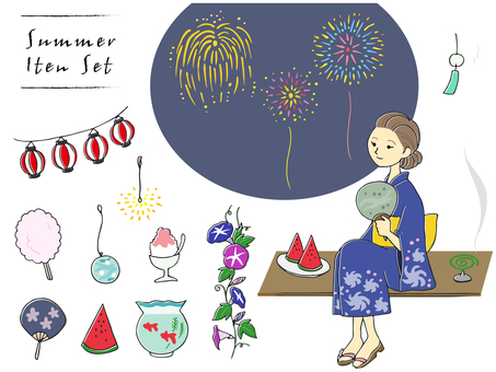 Hand-drawn Japanese summer illustration set