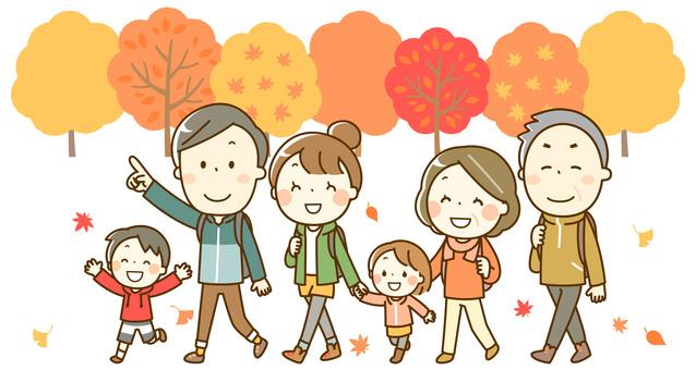 楽しい秋のハイキング_三世代_背景有り