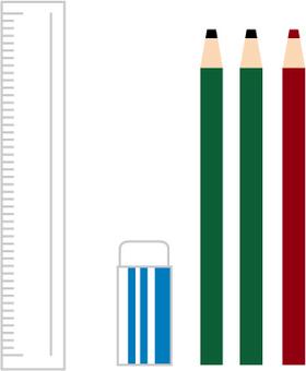 Pencil, eraser and ruler