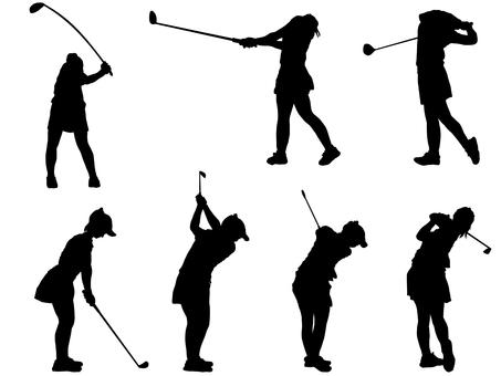 ゴルフ_シルエット_女子