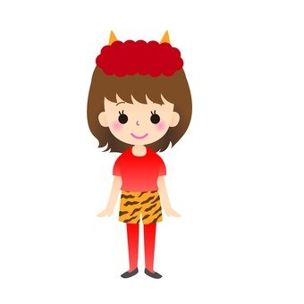 A woman dressed as a red demon