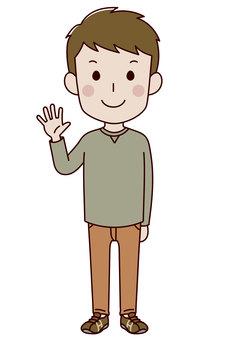 A man raising his hand