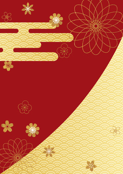 And handle_gold leaf_red background_ 縦 型 2453