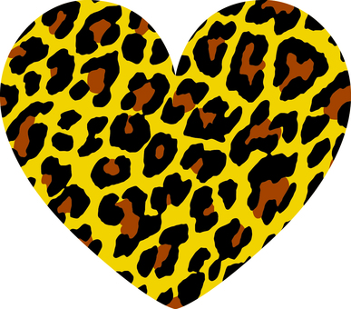 Heart _ leopard handle _ large _ yellow