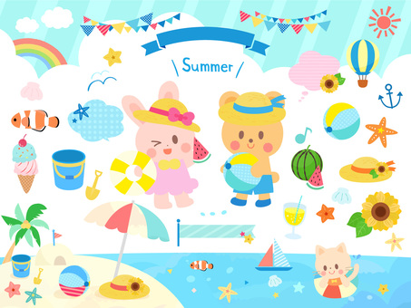 Summer sea set of cute animals