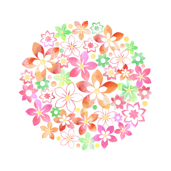 Watercolor Flower _ Pink _ Round Frame 2012