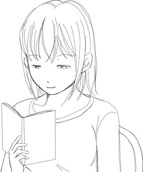 Reading books (line drawings)
