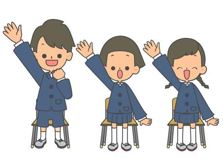 兒童長袖椅只舉手