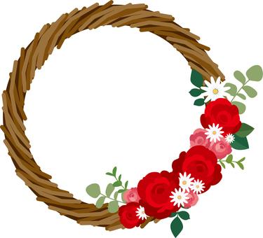 赤いバラのリースのイラスト2