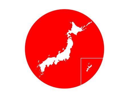 The Japanese flag and the Japanese archipelago