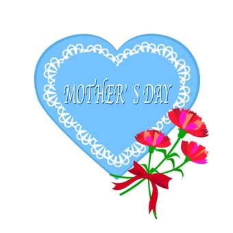 Carnation and blue heart Mother's Day