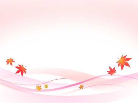 Red wavy line and autumn leaves image ver 2