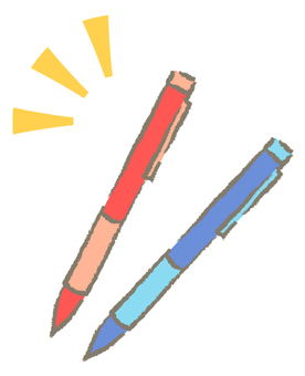 Red pen and blue pen (with wire