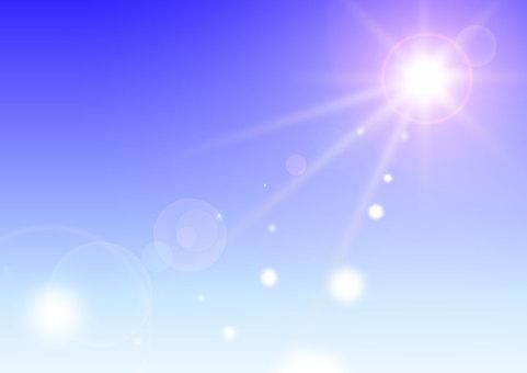 태양과 푸른 하늘 빛나는 빛