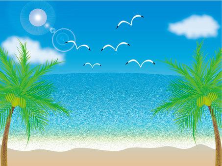 Blue sky, sea, seagulls and palm trees