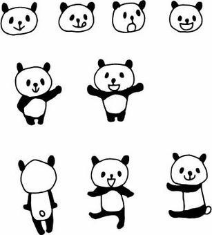 Hand-painted panda pose