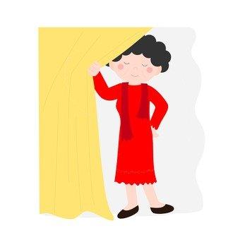 탈의실에서 포즈를 취하는 여성