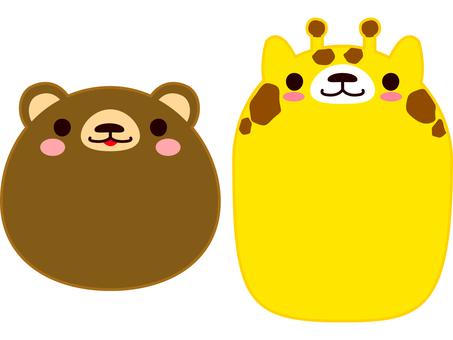 Face Animal bear and giraffe