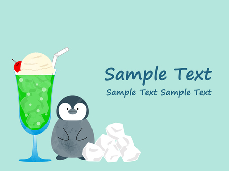 Background material of penguin and soda float
