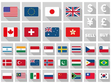 National flag flat design major currencies 32