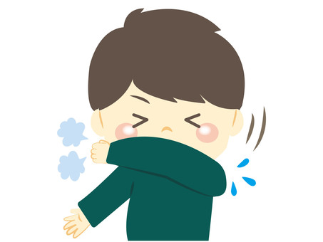 A boy holding a sneeze or cough in his sleeve