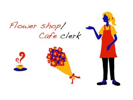 Female clerk in flower shop or cafe