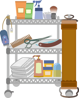 Barber's metal rack with barber tools