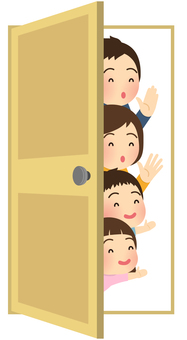 Illustration of a family peeking through the door