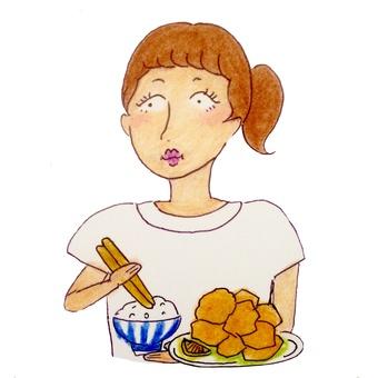 Girl eating fried chicken