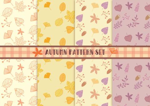 Autumn plant hand-painted pattern set