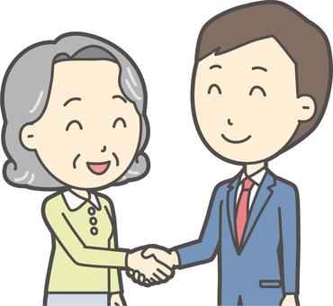 青年スーツ青と握手-011-バスト