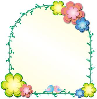 꽃과 작은 새 창틀 바람 프레임