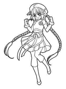 Girl coloring / braid (whole body / no background)
