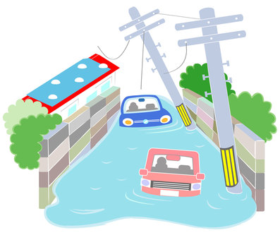 2 flooded vehicles