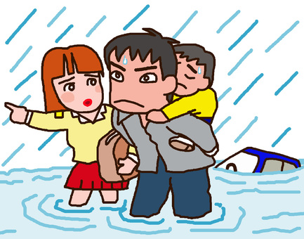 Parent and child who evacuate by heavy rain flood disaster