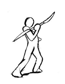Fighting person - Naginata