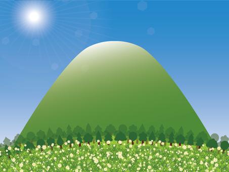 꽃밭의 산기슭의 배경 · 벽지