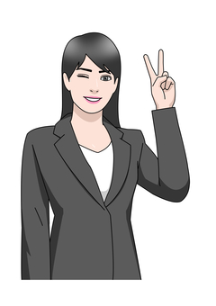 Business suit woman piece one hand