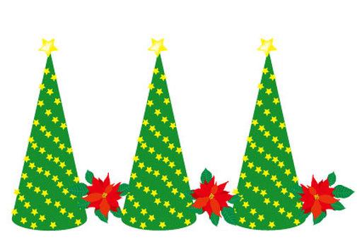 크리스마스 트리와 포인세티아 라인
