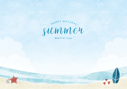 Summer background frame 046 sea watercolor