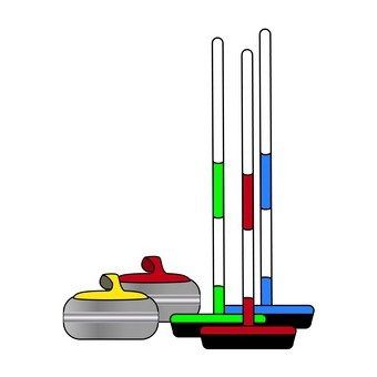 Curling stone and brush