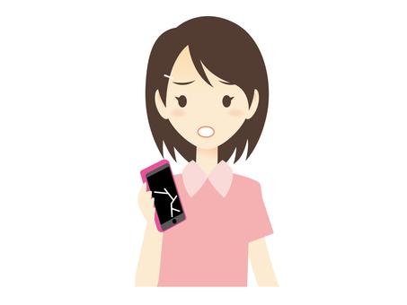 H004_ broken smartphone and woman