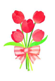 수채화 튤립 꽃다발 엽서