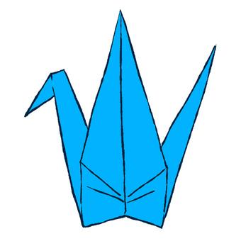 Blue folded crane