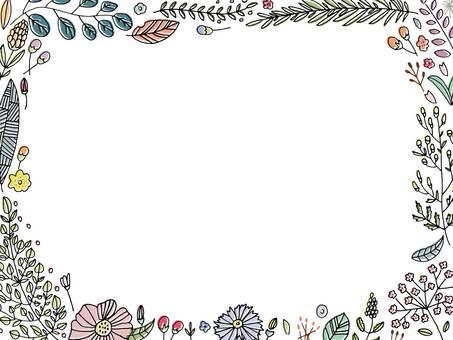 ボタニカル花デザイン枠