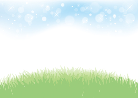 Blue sky and grassy background material 01