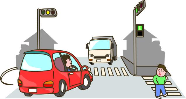 Car driving right turn danger
