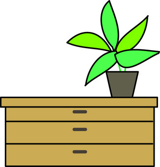 Sideboard and foliage plants