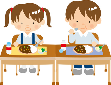 Boys and girls feeding lunch / type I / uta